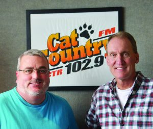 Mark Wilson, left, and Paul Mushaben resumed their Breakfast Flakes morning show this week at Cat Country Radio Station. (Jonathan McNiven photo)